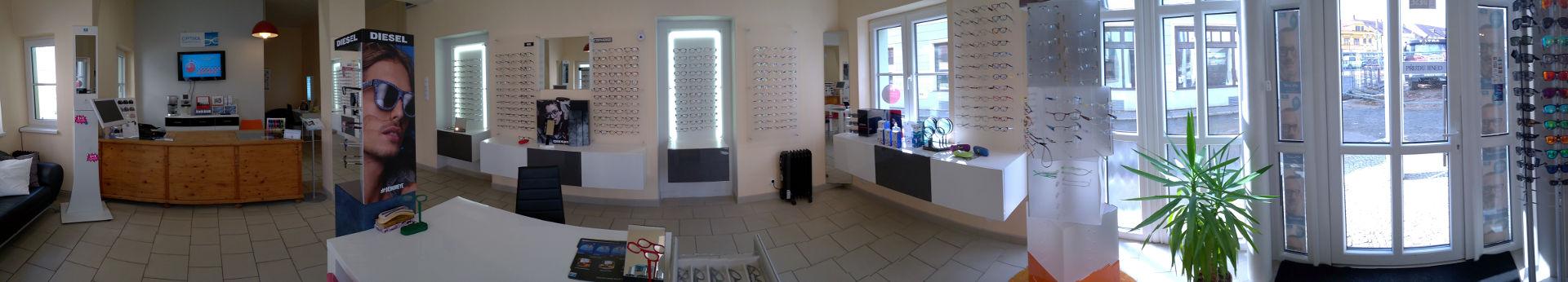 Takhle vypadá interiér pobočky naší oční optiky v Kaplici.